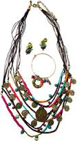 Treska Bohemian Jewelry Set with Medium Cord and Bead Necklace, Bangle Bracelet and Small Post Drop Earrings