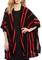 Pendleton Kimono Sleeve Open Front Stripe Print Cape