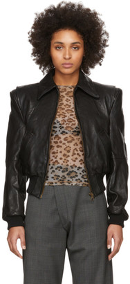R 13 Black Leather Americana Zip Jacket