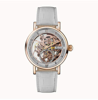 Ingersoll Herald Automatic with Rose Gold Ip Stainless Steel Case, Skeleton Dial and White Croco Embossed Leather Strap