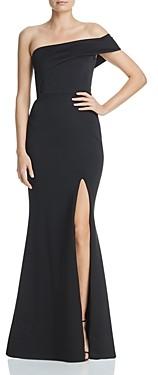 Aqua Asymmetric Off-the-Shoulder Gown - 100% Exclusive
