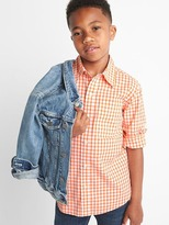Gap Plaid poplin convertible shirt