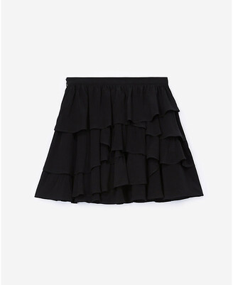 The Kooples Ruffle-trimmed high-waisted crepe mini skirt