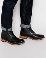 Ted Baker Sealls Leather Brogue Boots - Black