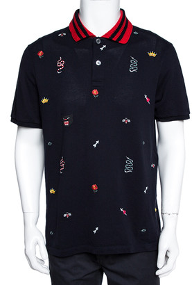 Gucci Navy Blue Cotton Multi Motif Embroidered Polo T-Shirt 3XL