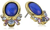 "Sorrelli Sweet Sapphire"" Petite Semi-Precious Oval and Crystal Cluster Post Stud Earrings"