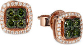 LeVian Le Vian Exotics® Green and White Diamond Earrings (1/2 ct. t.w.) in 14k Rose Gold