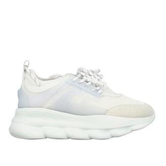 Versace Sneakers Chain Reaction Sneakers In Leather And Mesh With Logo