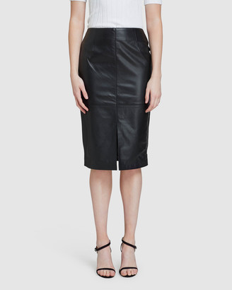 Oxford Women's Leather skirts - Darby Leather Pencil Skirt - Size One Size, 6 at The Iconic