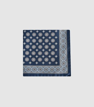 Reiss LUIS MEDALLION PRINTED SILK POCKET SQUARE Navy