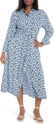 ELOQUII Floral Print Long Sleeve Midi Shirtdress