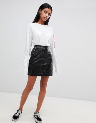 Noisy May Vinyl Skirt With Zip Detail-Black