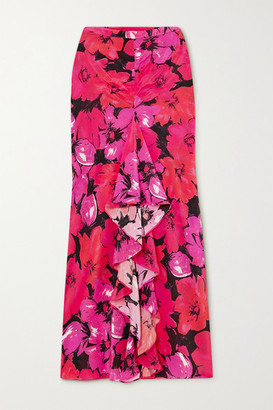 Rixo Vi Ruffled Floral-print Silk Crepe De Chine Midi Skirt - Pink