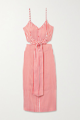 Jason Wu Tie-front Cutout Striped Jacquard Midi Dress - Red
