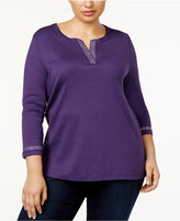 Karen Scott Plus Size Cotton Rhinestone-Trim Top, Created for Macy's