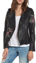 BB Dakota Women's Baxley Embroidered Faux Leather Moto Jacket