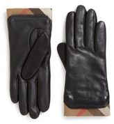 Burberry Cashmere Check-Lined Leather Gloves