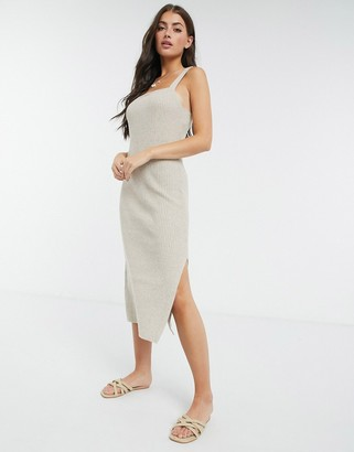 M Lounge knitted midi dress wih square neck