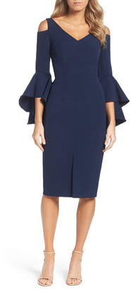 Maggy London Cold-Shoulder Bell Sleeve Midi Dress