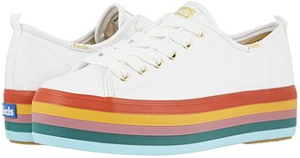 Keds Triple Up Rainbow Foxing (White Leather) Women's Shoes