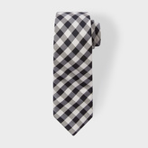 Paul Smith Men's Black And White Gingham Narrow Silk Tie