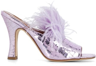 Paris Texas Lila 105mm feather-embellished sandals