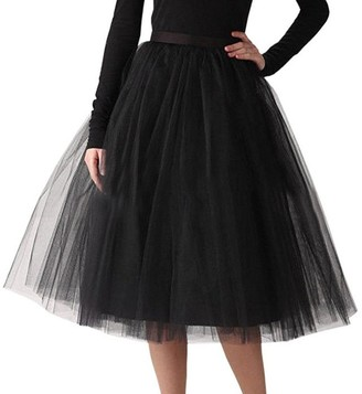 WOZOW Ladies Sequin Pleated Adult Tutu Knee Length Tulle Skirt Dancing Skirts for Women Black One Size