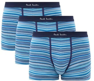 Paul Smith Pack Of Three Striped Cotton-blend Boxer Briefs - Navy Multi
