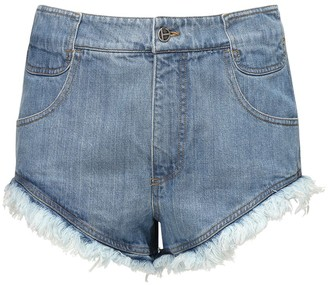 Telfar Raw Cut Cotton Denim Shorts