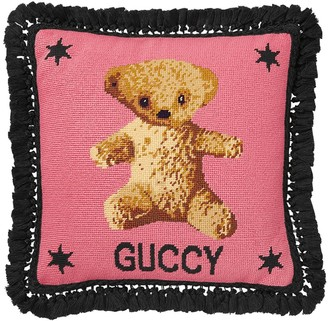 Gucci Teddy Bear Cross Stitch Pillow
