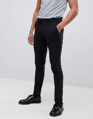 Asos Design DESIGN super skinny smart trouser in black wool mix