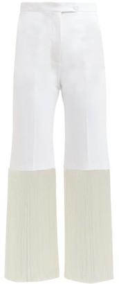 Sara Battaglia Fringed Cotton-blend Trousers - White