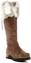 Manas Design Genuine Rabbit Fur Cuff Lace-Up Tall Platform Boot