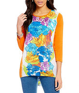 Multiples 3/4 Sleeve Keyhole Button Back Hi-Low Printed Top