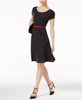 NY Collection Dot-Print Belted Fit & Flare Dress