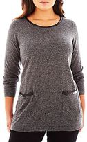 JCPenney Worthington® Long-Sleeve Faux-Leather Trim Tunic Sweater - Plus
