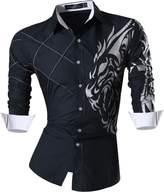 jeansian Men Slim Button Down Long Sleeves Dress Shirt 2028 Khaki S