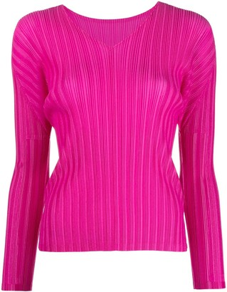 Pleats Please Issey Miyake Pleated Long-Sleeved Top