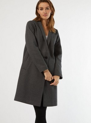 Dorothy Perkins Womens Charcoal Unlined Coat