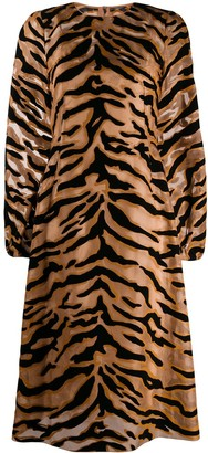 Dolce & Gabbana Tiger Print Sheer Dress
