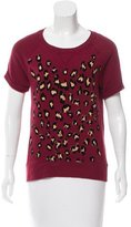 Sandro Leopard Short Sleeve Sweatshirt