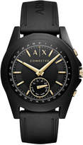 Armani Exchange Men's Connected Black Silicone Strap Hybrid Smart Watch 44mm