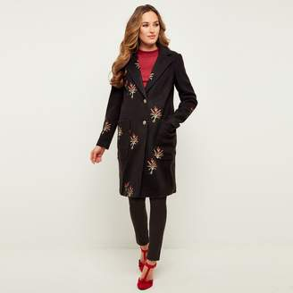 Joe Browns Buttoned Coat with Embroidered Flowers