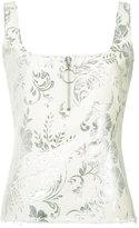 Marques Almeida Marques'almeida - zip detail jacquard tank - women - Cotton/Polyester/Acetate/Metallized Polyester - L