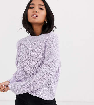 Only Petite rib knitted jumper-Purple