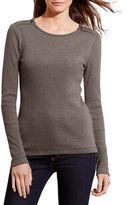 Lauren Ralph Lauren Petite Cotton Zip-Shoulder Tee