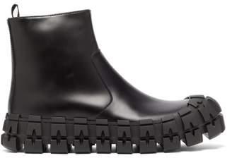 Prada Sculptured-sole Leather Boots - Mens - Black