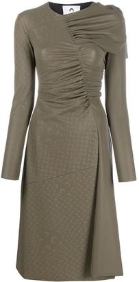 Marine Serre Ruched-Detailing Long-Sleeve Dress