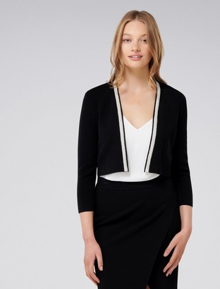 Forever New Elise Edge To Edge Trim Cardigan - Black - xxs