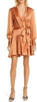 Zimmermann Super Eight Silk Long Sleeve Wrap Minidress